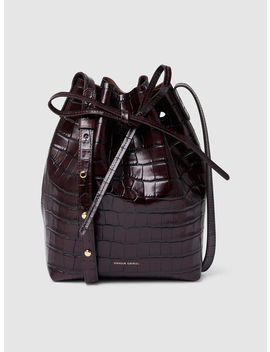Croc Embossed Mini Leather Bucket Bag by ‎Mansur Gavriel‎