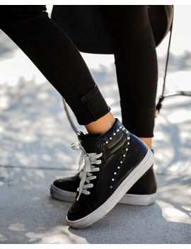Teagan Distressed Faux Leather Studded High Top Sneakers by Vici