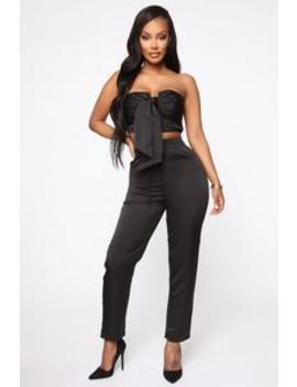 Tied To You Pant Set   Black by Fashion Nova