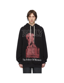 Black Front Pocket Pom Hoodie by Billy
