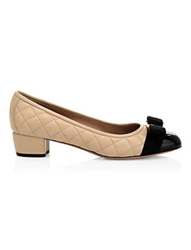 Bow Quilted Leather Pumps by Salvatore Ferragamo