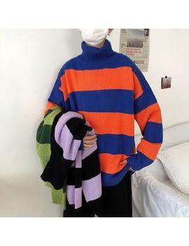 Mowak   Colorblock Turtleneck Loose Fit Sweater by Mowak