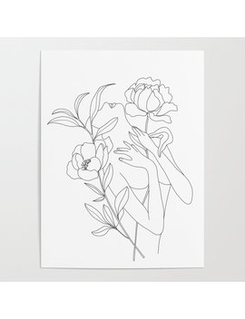 Minimal Line Art Woman With Peonies Poster by Society6