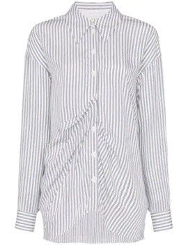 Gathered Front Striped Shirt by Tibi