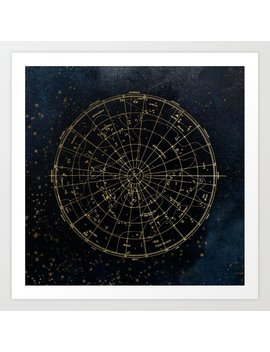 Golden Star Map Art Print by Society6