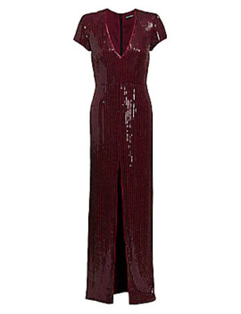 Alessia V Neck Cap Sleeve Sequin Gown by Haney
