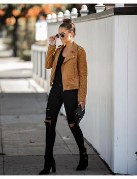 Bowery Pocketed Faux Suede Moto Jacket by Vici