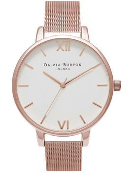 White Dial Rose Gold Mesh Watch by Olivia Burton
