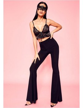 Justine Black Slinky Extreme Flare Trousers by Missy Empire