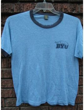 Vtg 80s Byu Brigham Young University Rayon Tri Blend Ringer T Shirt Small Medium by Russell Athletic