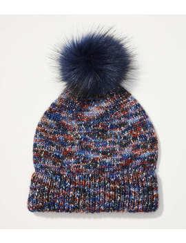 Shimmer Faux Fur Pom Pom Hat by Loft