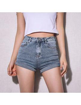 Girls Supply   High Waist Rolled Denim Shorts by Girls Supply