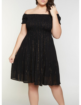 Plus Size Smocked Off The Shoulder Babydoll Dress by Rainbow