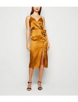 Mustard Satin Snake Jacquard Ruffle Midi Dress by New Look