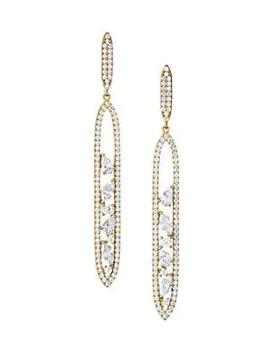 18 K Goldplated & Cubic Zirconia Cluster Oval Drop Earrings by Adriana Orsini