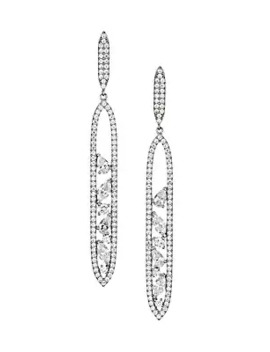 Rhodium Plated & Cubic Zirconia Cluster Oval Drop Earrings by Adriana Orsini