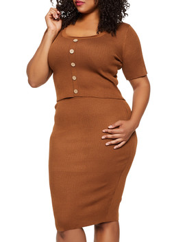 Plus Size Button Front Top And Pencil Skirt Set by Rainbow
