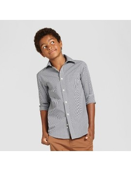 Boys' Long Sleeve Button Down Shirt   Cat & Jack™ Black/White by Cat & Jack