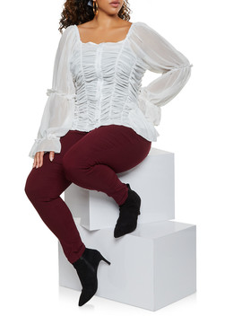 Plus Size Ruched Square Neck Shirt by Rainbow