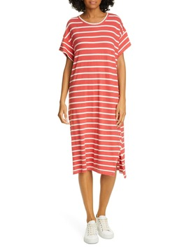 The Button Side Midi T Shirt Dress by The Great.