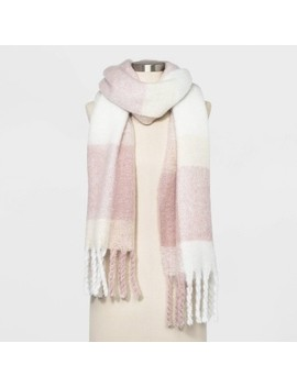Women's Plaid Brushed Blanket Scarf   A New Day™ Smoked Pink One Size by A New Day