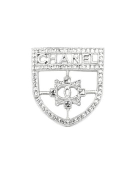 Silver Swarovski Crystal Cc Shield Brooch Pin by Chanel