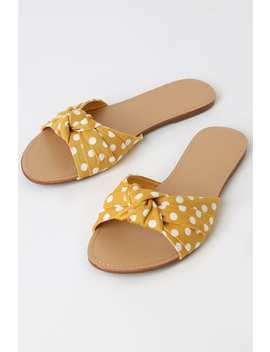 Zophie Mustard Polka Dot Knotted Slide Sandals by Lulu's