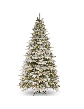 9ft. Pre Lit Feel Real® Snowy Everest Fir Medium Artificial Christmas Tree, Clear Lights by National Tree Company