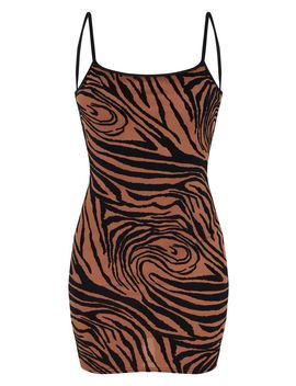 Brown Zebra Print Flocked Strappy Bodycon Dress by Prettylittlething