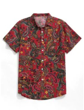 Sale Paisley Print Short Sleeve Shirt   Red Xl by Zaful