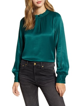 Ruffle Neck Satin Blouse by Rachel Parcell