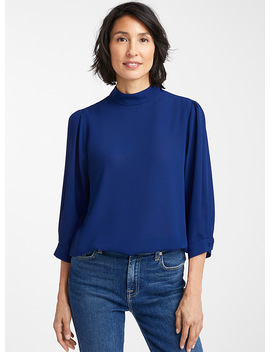 Recycled Crepe Mock Neck Blouse by Contemporaine