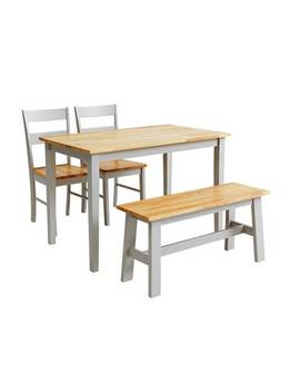 Argos Home Chicago Solid Wood Table, Bench & 2 Grey Chairs 854/6102 by Argos