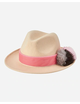 San Diego Hat Company Wool Felt Fedora With Faux Fur Pom And Velvet Trim by Express