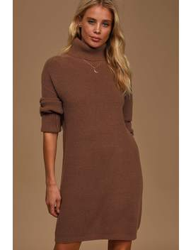 Cozy Up To You Brown Turtleneck Sweater Dress by Lulus