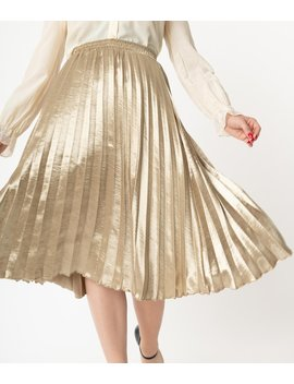 Retro Style Gold Metallic Pleated Skirt by Unique Vintage