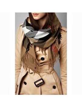 Brown Color Check Wool Square Scarf/Wrap by Burberry