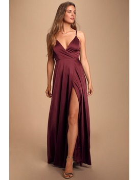 Ode To Love Burgundy Satin Maxi Dress by Lulus