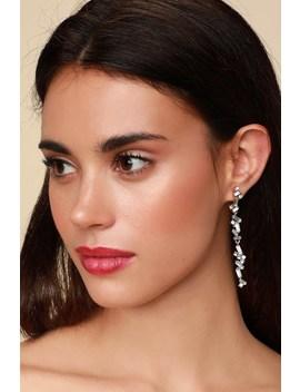 Verdad Gold Rhinestone Drop Earrings by Lulus