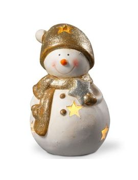 National Tree Company 8 Inch Lighted Holiday Snowman Decoration In White by Bed Bath And Beyond