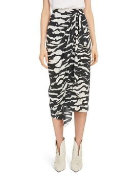 Zebra Print Stretch Silk Drape Midi Skirt by Isabel Marant