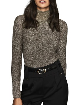 Jemima Metallic Turtleneck Sweater by Reiss