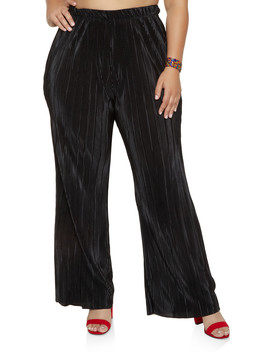 Plus Size Pleated Palazzo Pants | 8441020623492 by Rainbow