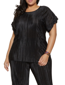 Plus Size Fixed Cuff Pleated Top by Rainbow