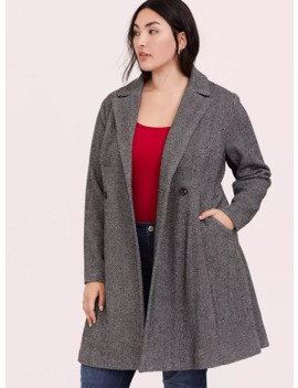 Herringbone Woolen Fit & Flare Coat by Torrid
