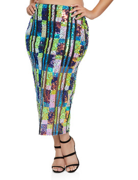 Plus Size Sequin Mesh Pencil Skirt by Rainbow
