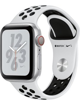 Apple Watch Nike+ Series 4 (Gps + Cellular) 40mm Silver Aluminum Case With Pure Platinum/Black Nike Sport Band   Silver Aluminum (Verizon) by Apple