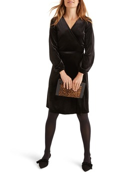 Ellie Long Sleeve Velvet Wrap Dress by Boden