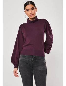 Wine Puff Sleeve Roll Neck Jumper by Missguided