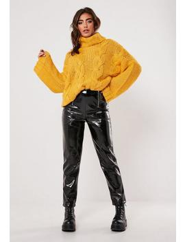 Mustard Roll Neck Extreme Cable Knit Jumper by Missguided